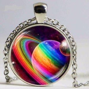 LBGT Gay Pride Rainbow Cabochon Pendant Necklace
